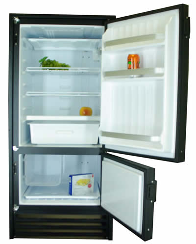 Nova Kool RFU9200 9.1 Cu Ft. 258 liters Dual Compressor Refrigerator with convenient Freezer on the bottom AC/DC or DC only.