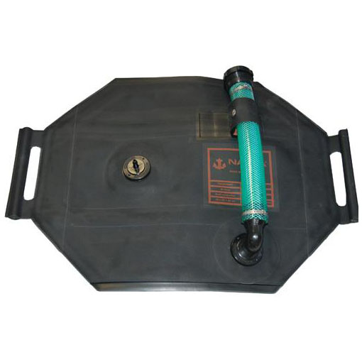 Portable Outboard Tank, 9 gallon with Fittings: Straight Drawing Nipple & 90 Degree Fill