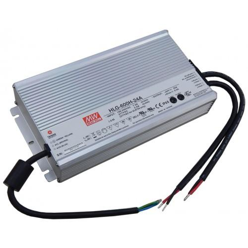 LED Power Supply: 90-305VAC to 24VDC, 600W, IP65