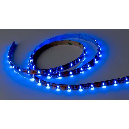 Flexible LED Strip Tape, Standard Output, 24V Blue, 8' Length with Wire Leads, IP65