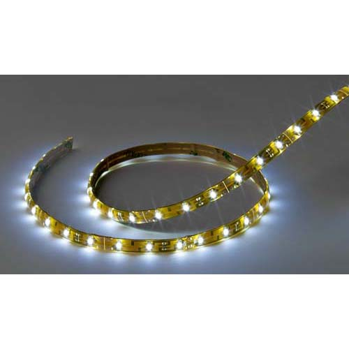 Flexible LED Strip Tape, Standard Output, 12V Cool White, 4' Length, Wire Leads, IP65