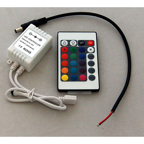 RGB Controller and 24 Button IR Remote with DC Connector 12/24V 2A/Channel