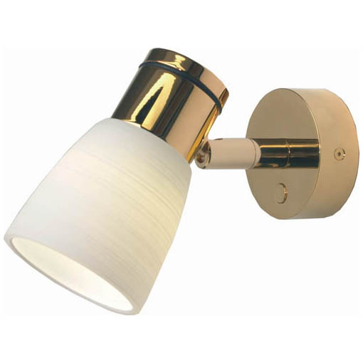 Munich, Gold with White Glass Shade Dimmer, 3 x 1W Warm White LEDs, 10-30VDC