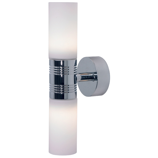 Berlin, Chrome with White Shade 6 x 1W Warm White LEDs, Built-in Dimmer, 10-30VDC