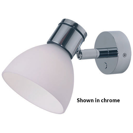 Gothen LED Reading Light, Matte Chrome with White Shade, Integrated Dimmer Switch, 10-30VDC, 4W