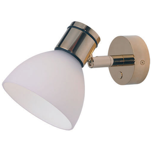 Gothen LED Reading Light, Gold with White Shade Integrated Dimmer Switch, 10-30VDC, 4W
