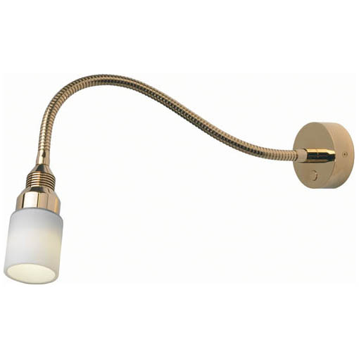"Kiel, Gold, White Glass Shade, 12"" (300mm) Built-in Dimmer, 10-30VDC"