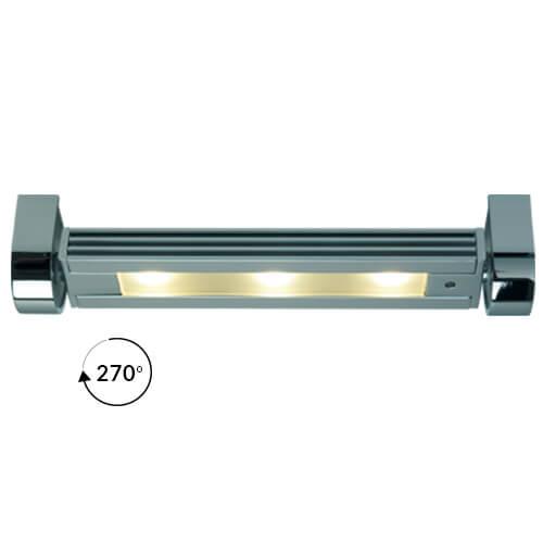 Saxony Small Rotating Light (270°), Matte Chrome Warm White, 10-30VDC, Dimmable, 3W LED