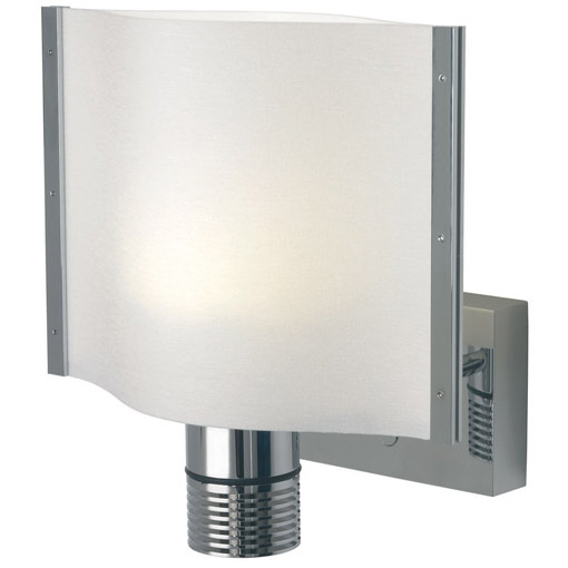 Rostock, LED, Chrome, White Shade Built-in Dimmer, 10-30VDC