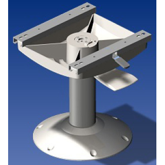 Norsap 1110 Seat Pedestal, 700mm (27.6 in.) Fixed Height, Anodized with White Base