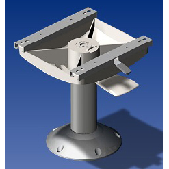 Norsap 1111 Seat Pedestal, 230mm (9.1 in.) Fixed Height, Sm Deck Base, Silver Metallic Base