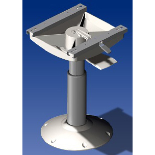 Norsap 1486 Seat Pedestal, 575-800mm/22.6-31.5 in. Adj Height, Gas Suspension, Anodized/White Base