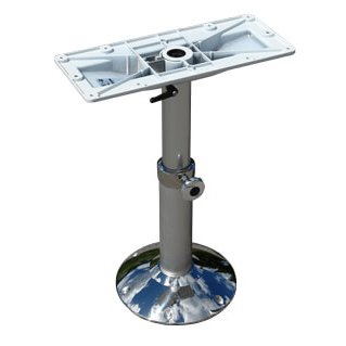 Norsap 1610 Fixed Table Column, 14.2-26.8 in. Adj Height, Gas Assist, Anodized/White, Thru-Deck