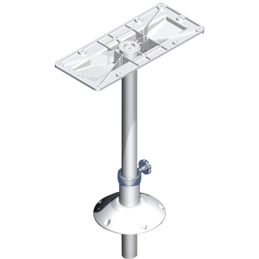 Norsap 1850 Fixed Table Column Adj, 10.8-31.5 in Adj. Height, Anodized with White Base, Thru-Deck