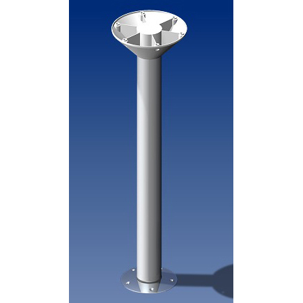 Norsap 2060 Movable Table Column, 24.0 in. (610mm) Fixed Height, Anodized Tube/Stainless Steel Base