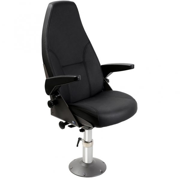 Norsap 800 Helm Chair, Seat Height 340mm Fixed Column, Flange Base, No Footrest, Charcoal