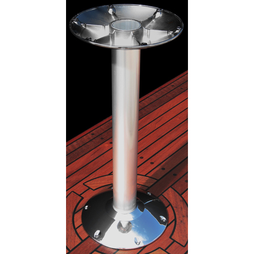 Norsap 7020BL Fixed Table Column,Ht:27.6 in.ø80mm Polished Aluminum Tube, Stainless Base Cover