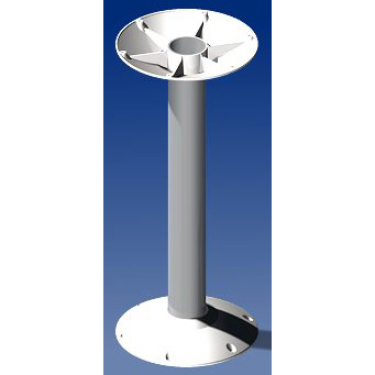 Norsap 7030 Fixed Table Column,Ht:27.6 in. ø65mm Small Deck Base,Anodized Tube ,White Flanges
