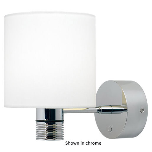 Nova XL LED Wall Light, Matte Chrome, White Shade Warm White, With Switch & Dimmer, 10-30VDC