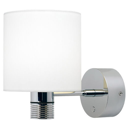 Nova XL LED Wall Light, Chrome, White Shade Warm White, With Switch & Dimmer, 10-30VDC