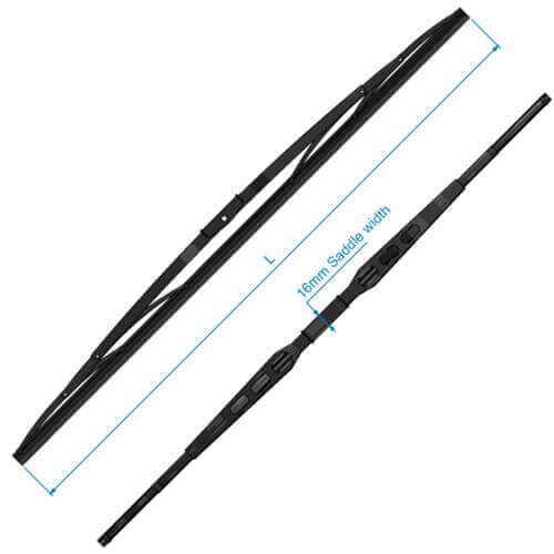 """W Series Wiper Blade, Black Stainless Steel, 28"""""""