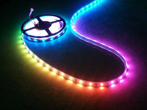 RGB LED Strip Tape, 24V, 16' Reel, IP66 with 4-Pin Connector (without Controller Kit)