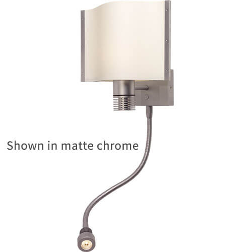 Rostock-Flex LED Wall Reading Light, Chrome White Shade, Built-in Dimmer, 10-30VDC, Warm White