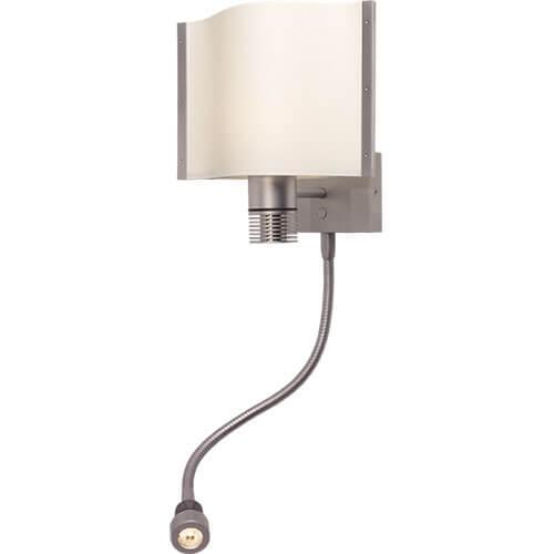 Rostock-Flex LED Wall Reading Light, Matte Chrome, White Shade, Built-in Dimmer, 10-30VDC, Warm White