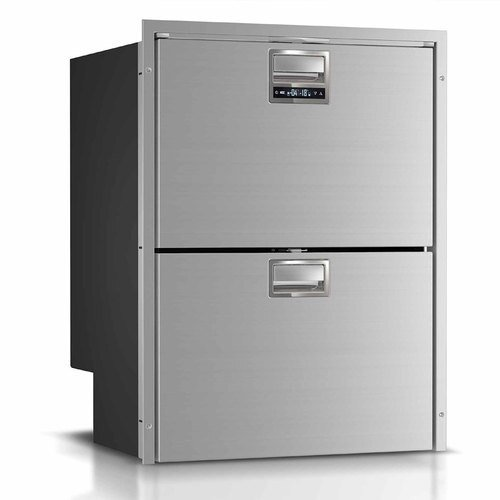 5.1 cu.ft. Multi-setting refrigerator/freezer with adjustable mounting flange. Stainless steel front, self-latching closure, internal unit, 12/24v - 115/230VAC
