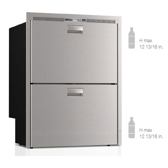 5.1 cu. ft. Double Drawer, Freezer top/Refrigerator Bottom, Stainless steel front, Flush flange, Steelock latch, LED interior lights, internal unit, 12/24v - 115/230VAC